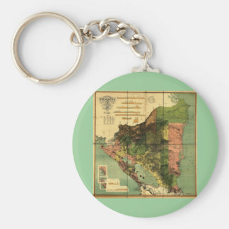 1898 Official Map of Nicaragua Basic Round Button Keychain