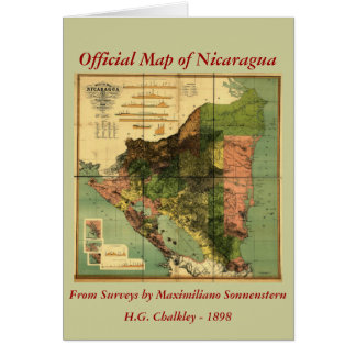 1898 Official Map of Nicaragua Card