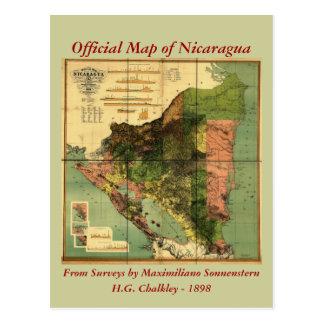 1898 Official Map of Nicaragua Postcard
