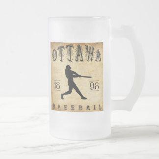 1898 Ottawa Ontario Canada Baseball Frosted Glass Beer Mug