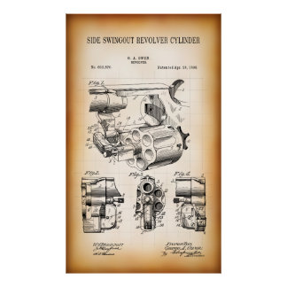 1898 PATENT for SWINGOUT BULLET CYLINDER Poster