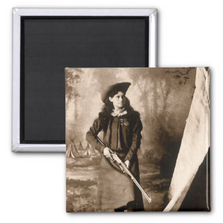 1898 Photo of Miss Annie Oakley Holding a Rifle 2 Inch Square Magnet