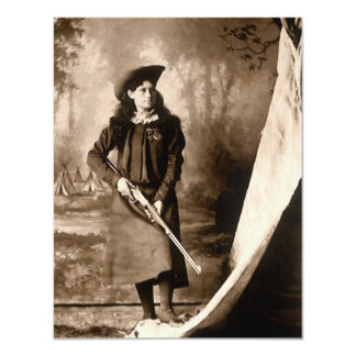 1898 Photo of Miss Annie Oakley Holding a Rifle 4.25x5.5 Paper Invitation Card