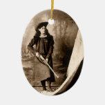 1898 Photo of Miss Annie Oakley Holding a Rifle Double-Sided Oval Ceramic Christmas Ornament