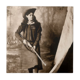 1898 Photo of Miss Annie Oakley Holding a Rifle Small Square Tile