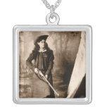 1898 Portrait of Miss Annie Oakley Holding a Rifle Pendant