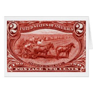 1898 que cultiva en el oeste tarjeta pequeña