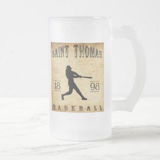 1898 Saint Thomas Ontario Canada Baseball Frosted Glass Beer Mug