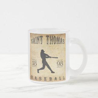 1898 Saint Thomas Ontario Canada Baseball Frosted Glass Coffee Mug
