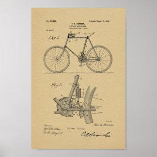 1898 Vintage Bicycle Air Brake Patent Art Print