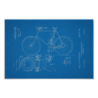1898 Vintage Bicycle Patent Blueprint Art Print