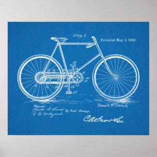 1898 Vintage Bicycle Patent Blueprint Art Print
