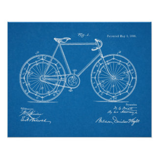 1898 Vintage Bicycle Wheel Patent Blueprint Art Poster