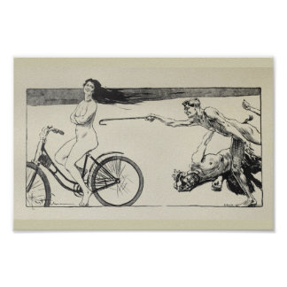 1898 Vintage Bicycle Woman Ad Art Poster