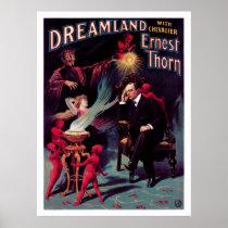 1899 Ernest Thorn Vintage Magician Poster Restored