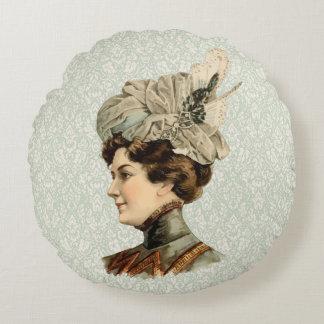 1899 Hat for Ladies #12 (Victorian era) Round Pillow