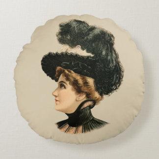 1899 Hat for Ladies #16 (Victorian era) Round Pillow