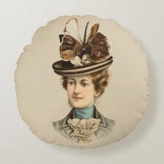 1899 Hat for Ladies #5 (Victorian era) Round Pillow