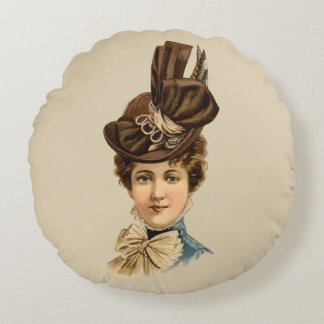 1899 Hat for Ladies #6 (Victorian era) Round Pillow