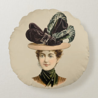 1899 Hat for Ladies #7 (Victorian era) Round Pillow