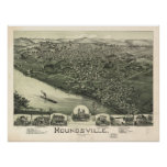1899 Moundsville, WV Bird's Eye View Panoramic Map Posters