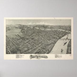 1899 Parkersburg, mapa panorámico de la opinión de Póster
