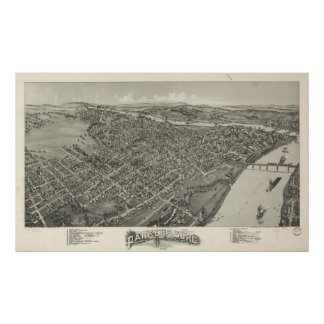 1899 Parkersburg, WV Bird's Eye View Panoramic Map Poster