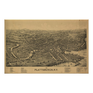 1899 Plattsburgh, NY Birds Eye View Panoramic Map Poster
