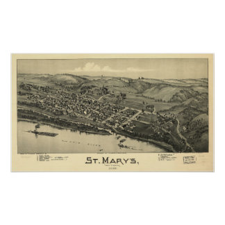 1899 St Mary, mapa panorámico de la opinión del oj Póster