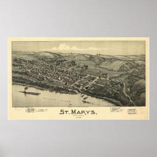 1899 St. Mary's, WV Bird's Eye View Panoramic Map Print