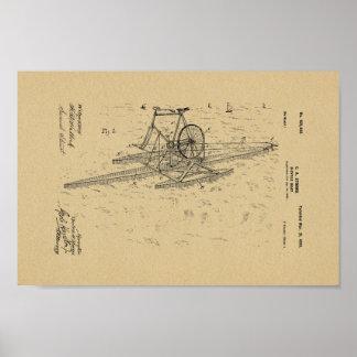 1899 Vintage Bicycle Boat Patent Art Print