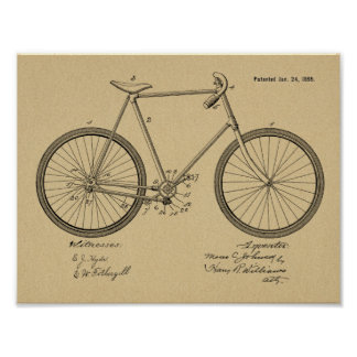 1899 Vintage Chainless Bicycle Patent Art Print