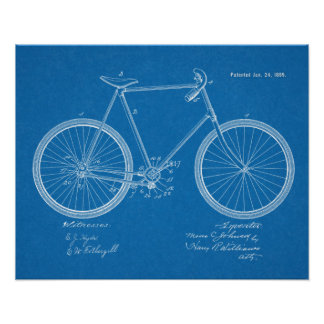 1899 Vintage Chainless Bicycle Patent Blueprint Poster