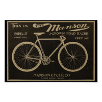 1899 Vintage Manson Bicycle Ad Art Poster