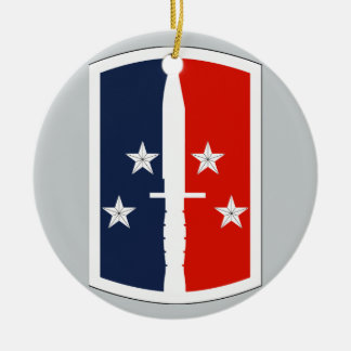 189th Infantry Brigade Double-Sided Ceramic Round Christmas Ornament
