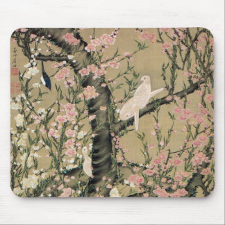 18.桃花小禽図, 若冲 Peach Blossoms & Small Birds, Jakuchū Mouse Pad