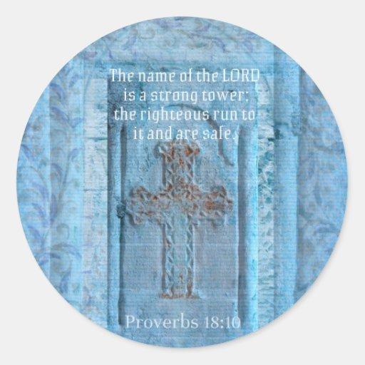 18:10 de los proverbios que anima la CRUZ del Etiquetas Redondas