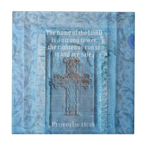 18:10 de los proverbios que anima la CRUZ del vers Azulejo