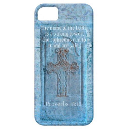 18:10 de los proverbios que anima la CRUZ del vers iPhone 5 Funda