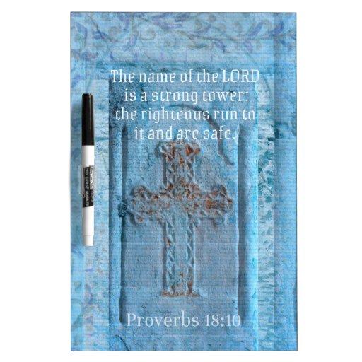 18:10 de los proverbios que anima la CRUZ del vers Tablero Blanco
