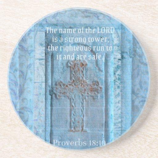 18:10 de los proverbios que anima la CRUZ del vers Posavasos Para Bebidas