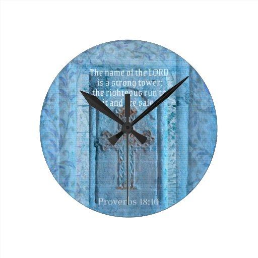 18:10 de los proverbios que anima la CRUZ del vers Reloj De Pared