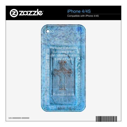 18:10 de los proverbios que anima la CRUZ del vers iPhone 4S Calcomanías