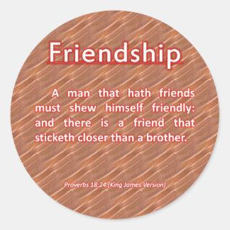 18:24 de los proverbios de la amistad pegatina redonda