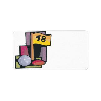 18 agujeros etiqueta de dirección
