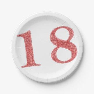 18 años de aniversario platos de papel