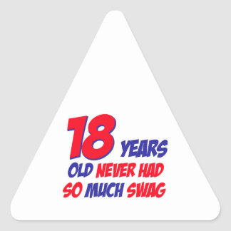 18 años de diseño del cumpleaños pegatina triangular