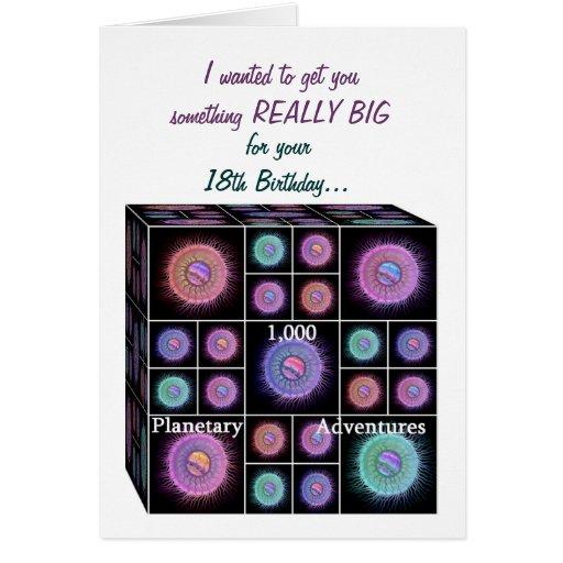 18 años de tarjeta de cumpleaños con los planetas