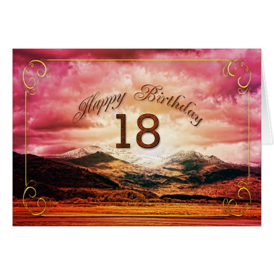 18 birthday, Sunset over the mountains Card