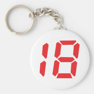 18 eighteen red alarm clock digital number key chains